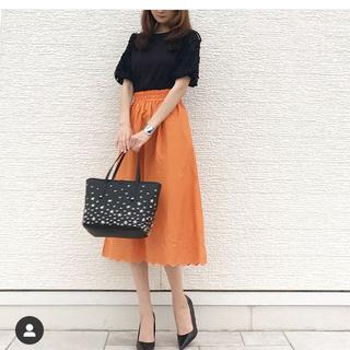 オレンジ スカートxs新品(ロングスカート)