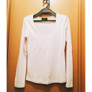 アンズ(ANZU)の春服 ANZU】 白 ロンT コットン100% キレイ目 インナー(Tシャツ(長袖/七分))