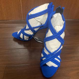 ザラ(ZARA)のZARA ザラ ヒール サンダル ブルー 39(サンダル)