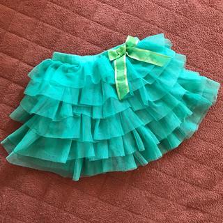 エイチアンドエム(H&M)のチュールフリルスカート 90 グリーン(スカート)