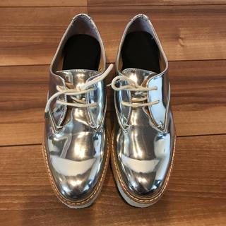 ザラ(ZARA)のzara  プラットフォームシューズ シルバー(ローファー/革靴)
