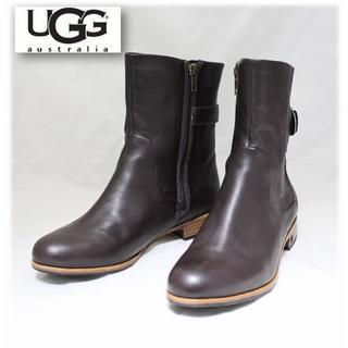 アグ(UGG)の新品【アグ 】サイドジップ レザーブーツ 茶 US9(26cm)(ブーツ)
