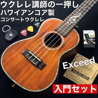 【入門セット】Exceed ハワイアン・コア製コンサート・ウクレレ【プロ調整品】