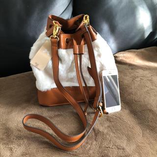ウィルセレクション(WILLSELECTION)の新品 ウィルセレクション 巾着型ファーバッグ 茶&白(ショルダーバッグ)