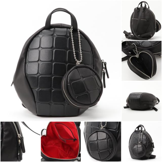 PAPILLONNER(パピヨネ)の*超レア*価格7万 kawakawa カワカワ レザーボンディングリュック 黒 レディースのバッグ(リュック/バックパック)の商品写真
