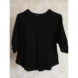 ジーユー(GU)のワッフルT 黒七分袖(Tシャツ(長袖/七分))