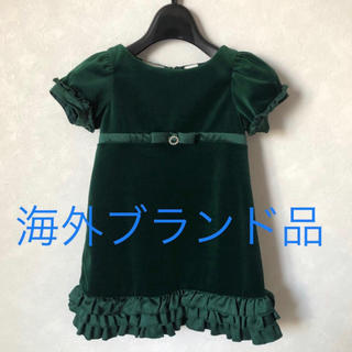 新品 女の子 ドレス ベロア ワンピース 緑 グリーン 90cm〜100cm(ワンピース)
