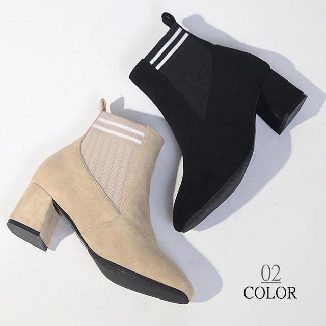 太ヒールショートブーツ レディースの靴/シューズ(ブーツ)の商品写真