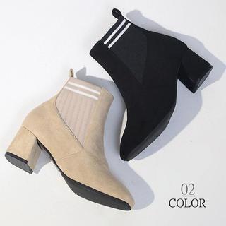 太ヒールショートブーツ(ブーツ)