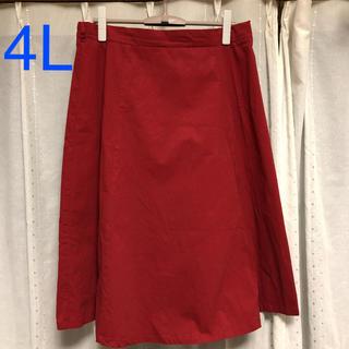 膝丈台形スカート 4L レッド(ひざ丈スカート)