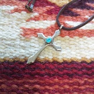 インディアン(Indian)のインディアンジュエリー ナバホ族 ターコイズ 十字架 クロスネックレス シルバー(ネックレス)