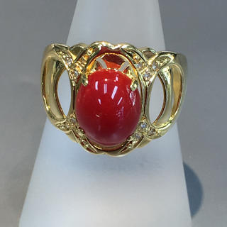 K18 珊瑚 ダイヤ  リング  指輪(リング(指輪))
