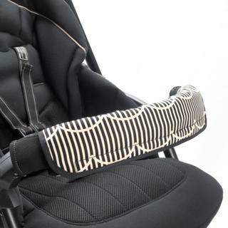 ベビーカー フロントカバー ストライプブラック(ベビーカー/バギー)