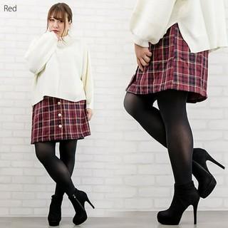 クレット(clette)の【今だけ値下げ対応】大きいサイズ 赤 チェック スカート 4L 1度着用のみ(ミニスカート)