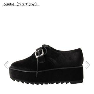 ジュエティ(jouetie)のjouetie ベロアカラーローファー ブラック Mサイズ(ローファー/革靴)
