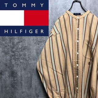 トミーヒルフィガー(TOMMY HILFIGER)の【激レア】トミーヒルフィガー☆刺繍ロゴマルチストライプノーカラーシャツ 90s(シャツ)