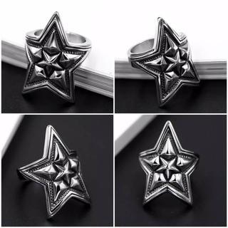 チタンステンレス黒墨コーティングスターリング星指輪(リング(指輪))