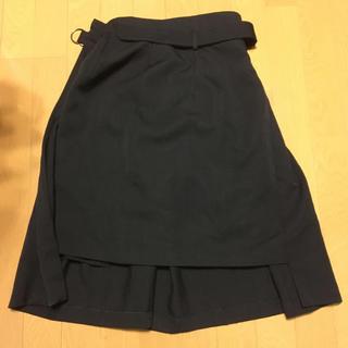 コムデギャルソン(COMME des GARCONS)のコムデギャルソン トリコスカート 半プリーツ 黒ウール(ロングスカート)