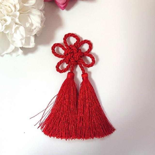 【髪飾り】梅結び (ダブルタッセル)成人式 七五三 レディースのヘアアクセサリー(ヘアピン)の商品写真
