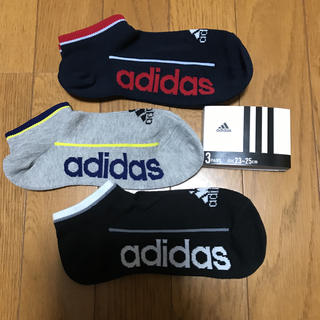 adidas☆ビッグロゴ スニーカーソックス 23〜25
