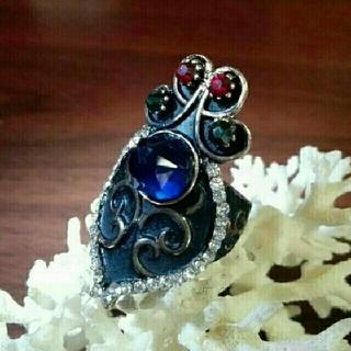 ブラックエナメル使用のクラウンモチーフのリング(リング(指輪))