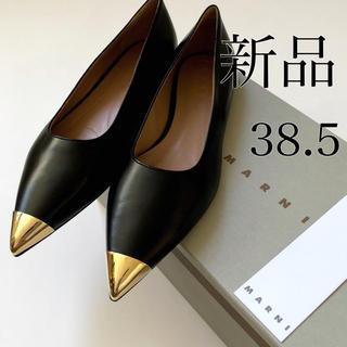 マルニ(Marni)の新品/38.5 MARNI マルニ ブラック × ゴールド フラットシューズ(ハイヒール/パンプス)