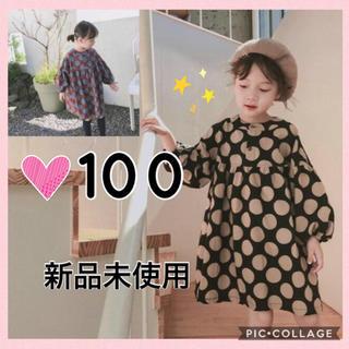 100 ☆新品☆ドットワンピース ふんわり袖 韓国こども服(ワンピース)