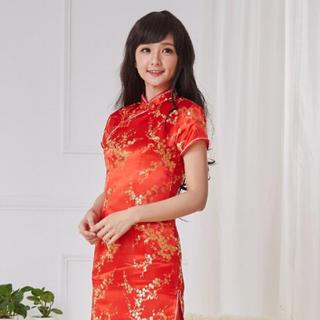 ボディライン(BODYLINE)のチャイナ服 半袖ロング 赤 大きいサイズ 3L(衣装)