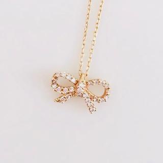 STAR JEWELRY - ♡美品♡スタージュエリー  K18 PG ダイヤ ネックレス リボンモチーフ