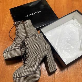 ESPERANZA - エスペランサ チェック柄厚底編み上げブーツ