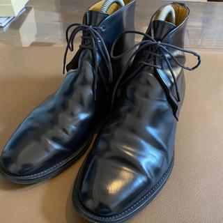 サンダース(SANDERS)のサンダース チャッカブーツ  メンズ 黒 革靴 7(ブーツ)