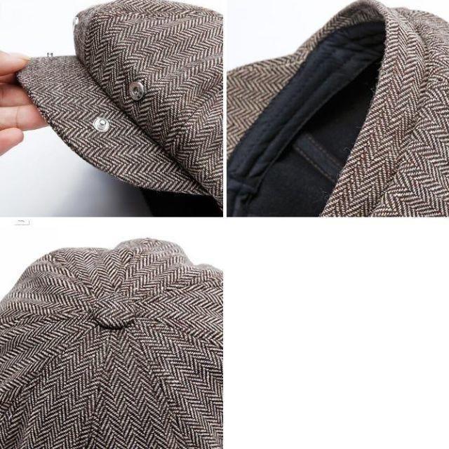 ヘリンボーン キャスケット ハンチング ホック付き ブラウン 60cm メンズの帽子(ハンチング/ベレー帽)の商品写真