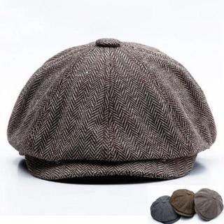 ヘリンボーン キャスケット ハンチング ホック付き ブラウン 60cm(ハンチング/ベレー帽)
