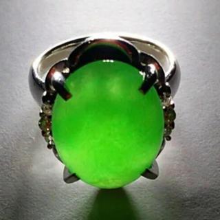 プラチナ ダイヤ 含浸処理なし天然翡翠 大粒(リング(指輪))
