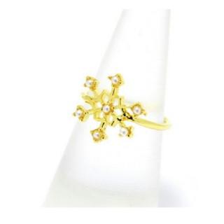 【新品!雪の結晶リング  ゴールド】(リング(指輪))
