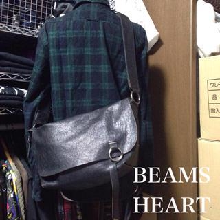 BEAMS - 【USED】BEAMS HEART レザー ショルダーバッグ ブラック