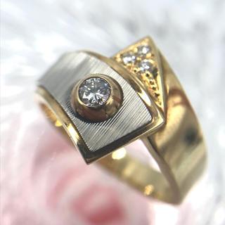 K18 Pt900 ダイヤモンド デザイン リング 指輪 14.5号(リング(指輪))
