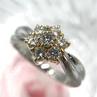 K18 Pt900 ダイヤモンド D0.50ct フラワー リング 10号(リング(指輪))