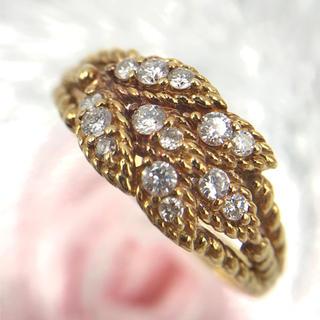 ☆K18 ダイヤモンド D0.27ct デザイン リング 指輪 13.5号(リング(指輪))