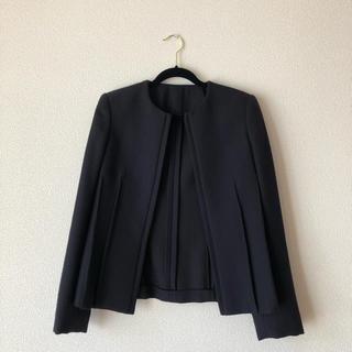 トゥモローランド(TOMORROWLAND)の未使用品イタリア製ウールジャケットノーカラー(ノーカラージャケット)