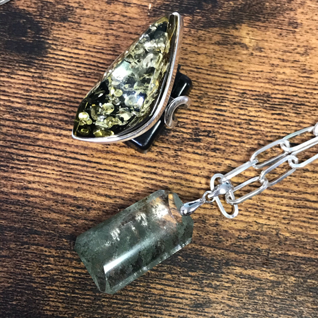 h様♡アンバー シルバー925 リング 19号 レディースのアクセサリー(リング(指輪))の商品写真