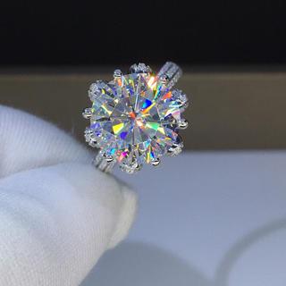 【5カラット】最高級モアサナイト ダイヤモンド k18 リング(リング(指輪))