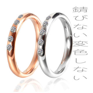 ギラギラ czダイヤ ステンレスリング 3ミリ  (リング(指輪))