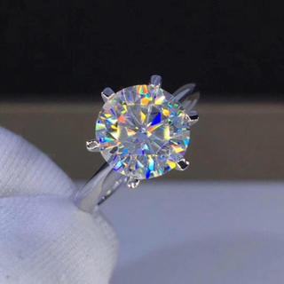 【3カラット】輝く モアサナイト ダイヤモンド リング(リング(指輪))