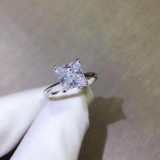 【2カラット】プリンセスカット モアサナイト ダイヤモンド リング(リング(指輪))