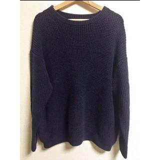 コモリ(COMOLI)のCREPUSCULE 鹿の子編みセーター 厚手 NAVY クレプスキュール(ニット/セーター)
