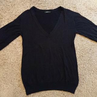 コムサイズム(COMME CA ISM)のCOMME CA ISM ブラック 長袖 薄手ニット カットソー(ニット/セーター)