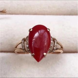 【高級】赤珊瑚 リング k18 ダイヤ 2.48g(リング(指輪))
