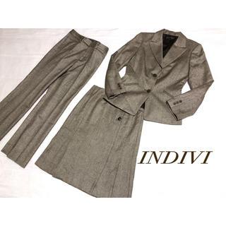 INDIVI - (34) INDIVI シルク混❤︎ウール スカートスーツ3点セット