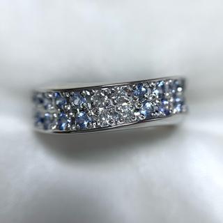 ランバン(LANVIN)のLANVIN pt900 サファイア  ダイヤモンド リング(リング(指輪))